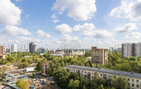 Modern apartment buildings and yards in the new district of Moscow Autumn cityscape