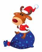 deer Santa sits on the bag