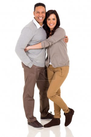 Photo for Cute couple embracing on white background - Royalty Free Image