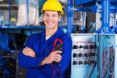 Průmyslová elektrikáři drží tester izolace