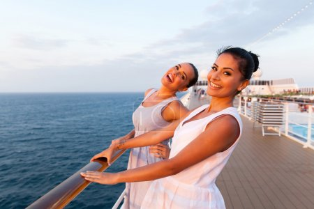 Women having fun on cruise ship