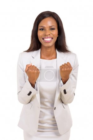 african american businesswoman waving fists