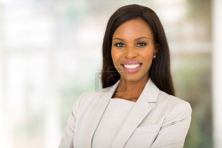 Photo for Beautiful young african entrepreneur in modern office - Royalty Free Image