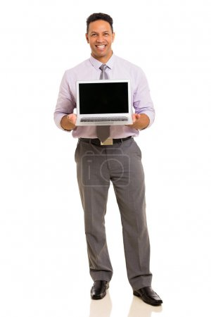 middle aged businessman presenting laptop