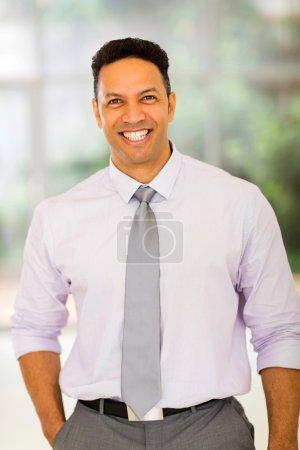 Photo pour Joyeux homme d'affaires mature regardant la caméra - image libre de droit