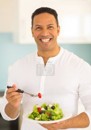 man with green salad