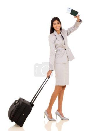 businesswoman waving goodbye