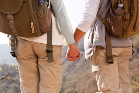 couple holding hands in mountain