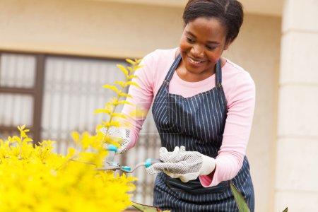 woman pruning plants