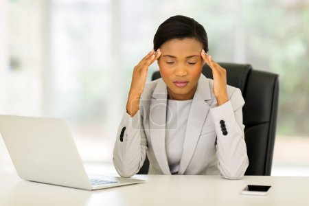 Stressed african businesswoman