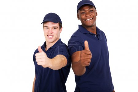co-workers giving thumbs up