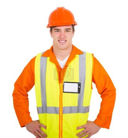 handsome blue collar worker