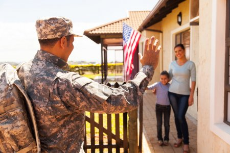 family welcoming military father