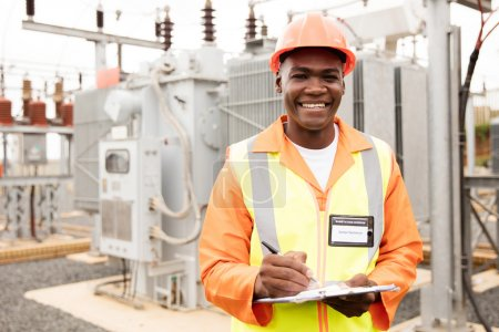 electrician working in electrical substation