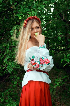 Beautiful woman in the Ukrainian national dress