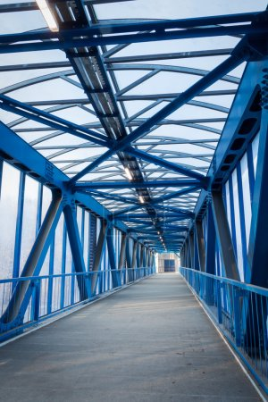 Photo for Pedestrian bridge over the highway - Royalty Free Image
