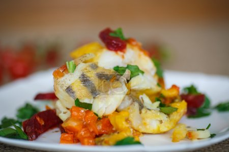 Walleye fish stew with beets, carrots and vegetabl...