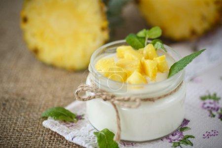 Photo pour Yaourt maison sucré à l'ananas dans un bocal en verre - image libre de droit