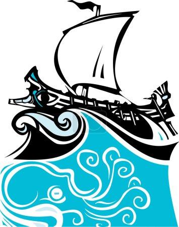 Woodcut Greek Galley Sea and Sea Life