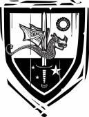 Heraldic Shield Dragon and Sword