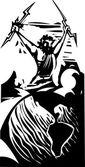 Woodcut Zeus and Earth
