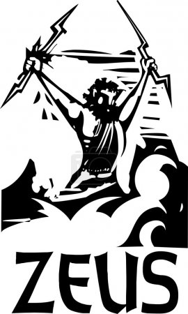 Woodcut Zeus text