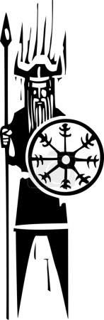 Viking with Wheel Symbol