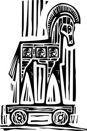Woodcut style expressionist image of the Greek Tro...