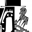 Woodcut style image of a Trojan Horse being loaded...