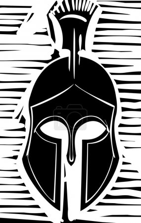 Woodcut style classical Grecian soldiers helmet wi...