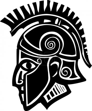 Woodcut style classical spartan Grecian soldier in...