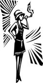 Woodcut Flapper Woman