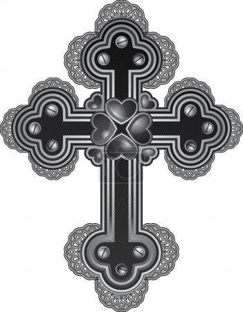 steampunk style cross with hearts