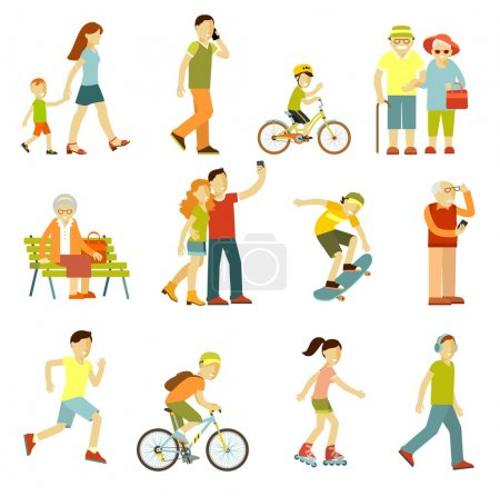 Illustration for People on the street in different activity situation - walking, cycling, running, recreation in flat style isolated on white background - Royalty Free Image