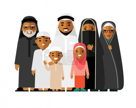 Social concept - happy muslim arabic family isolated on white background in flat style