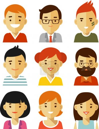 Illustration for Set of different icons of people in trendy flat style - Royalty Free Image
