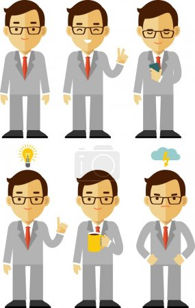 Illustration for Vector illustration in flat style of businessman character - Royalty Free Image