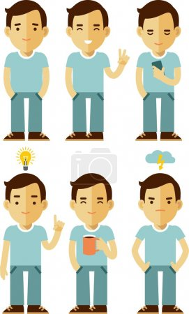 Illustration for Vector illustration in flat style of young man character - Royalty Free Image