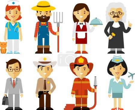 Photo pour Différentes professions de personnes personnages ensemble - image libre de droit