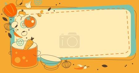 Illustration pour Fond alimentaire avec légumes et espace vide pour votre texte - image libre de droit