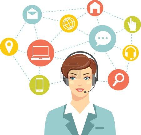 Illustration pour Belle femme dans le centre d'appels et le réseautage des icônes plates - image libre de droit