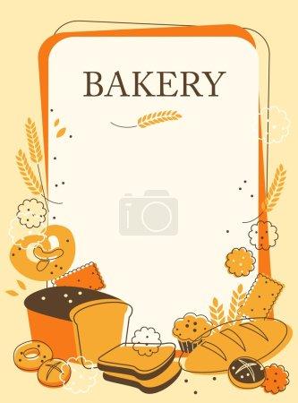 Illustration pour Vintage fond de boulangerie avec du pain et d'autres pâtisseries - image libre de droit