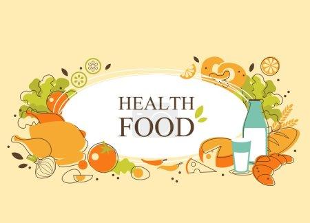 Illustration pour Fond alimentaire avec des aliments et espace vide pour votre texte - image libre de droit