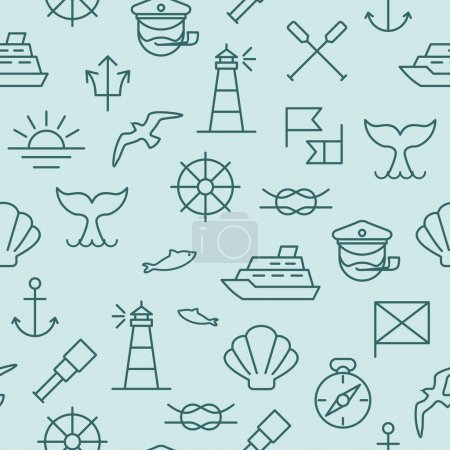 Illustration for Seamless background with nautical icons and symbols - Royalty Free Image