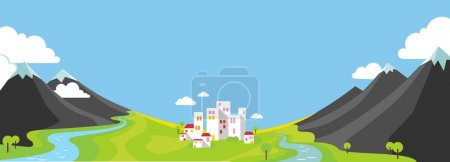 Illustration for Panorama landscape with wountains and small city in green valley in flat style - Royalty Free Image