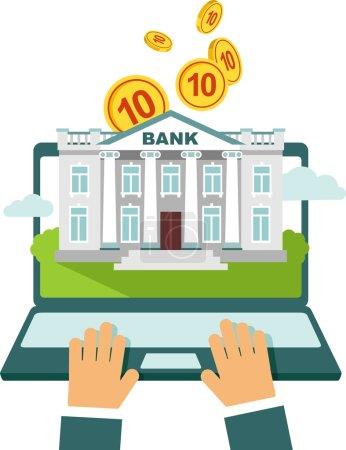 Illustration pour Concept de banque en ligne - en utilisant un ordinateur portable avec la construction de la banque à l'écran et de l'argent - image libre de droit
