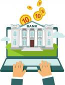 Online banking concept - using laptop with bank building on screen and money