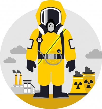 Illustration for Man in protective suit and gas mask on pollution background - Royalty Free Image