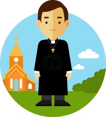 Illustration pour Prêtre catholique homme en soutane sur fond d'église dans le style plat - image libre de droit