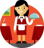 Waitress with tray on restaurant background in flat style